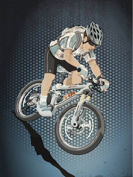 Mountainbike Sports Action Grunge Color Grunge vector artwork of a Mountainbike Athlete, who races downhill. The colors in the .eps-file are ready for print (CMYK). Transparencies used. All objects are on separate layers. Included files: EPS (v10) and Hi-Res JPG. cycling stock illustrations