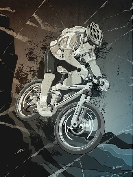 Mountainbike Sports Action Grunge Monochrome Digital grunge vector artwork of a Mountainbike Athlete, who races downhill. The colors in the .eps-file are ready for print (CMYK). Transparencies used. All objects are on separate layers. Included files: EPS (v10) and Hi-Res JPG. cycling stock illustrations
