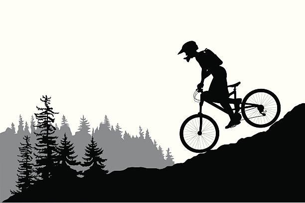 mountainbiking vector silhouette vector art illustration