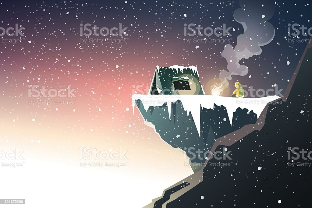 mountaineer camping on high mountain when dusk and snowing vector art illustration