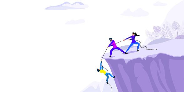 Mountaineer. Concept of achieving goal, Success, Sport lifestyle, Overcoming Difficulties. Business people Climb to the top of the Mountain, Leader helps the team to Climb the Cliff and reach the goal, Business concept of leadership and teamwork