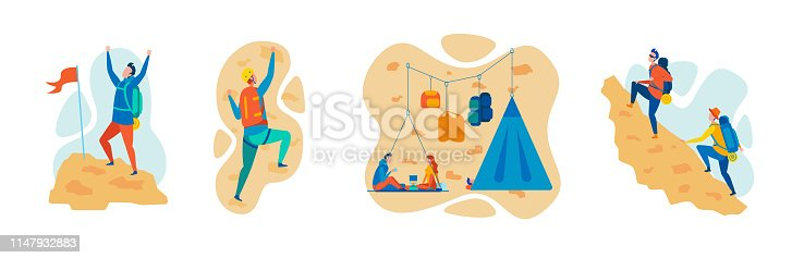 Mountaineering, Climbing and Hiking Sports Flat Vector Concepts Set Isolated on White Background. Mountaineers, Climbers Climbing on Rock, Ascending Mountain Peak, Resting in Hanging Camp Illustration