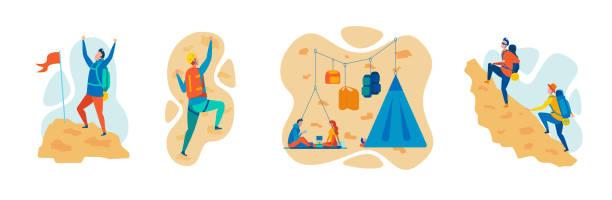 ilustrações, clipart, desenhos animados e ícones de montanhismo, conceito liso do vetor do esporte de escalada - escalada em rocha