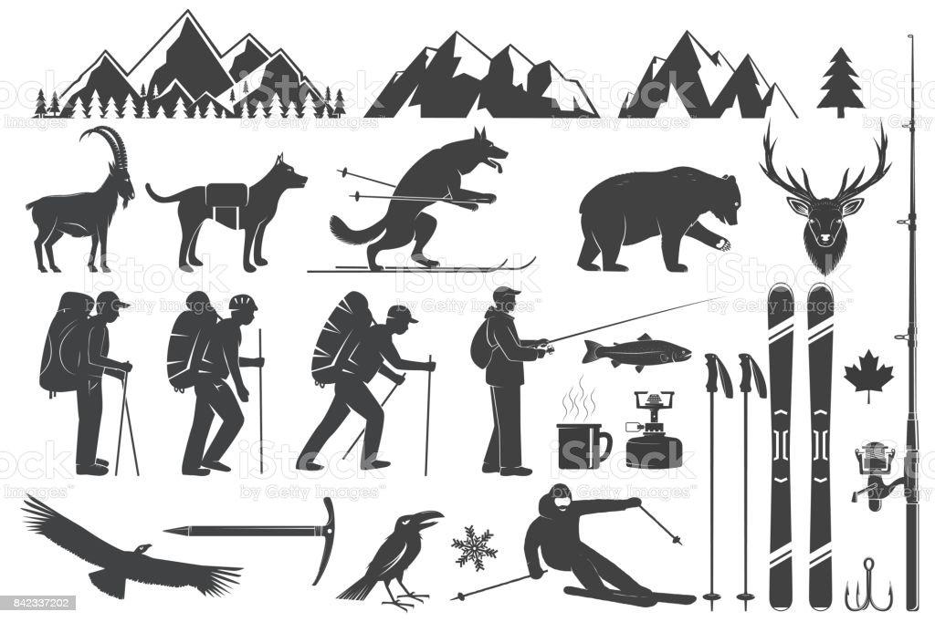 Alpinisme, randonnée, escalade, pêche, ski et autres icônes d'aventure - Illustration vectorielle