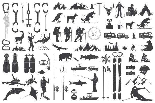Mountaineering, hiking, climbing, fishing, skiing and other adventure icons Mountaineering, hiking, climbing, fishing, skiing and other adventure icons. Vector illustration. Vintage typography design with ice axe, rock climbing Goat and mountain silhouette. hiking stock illustrations