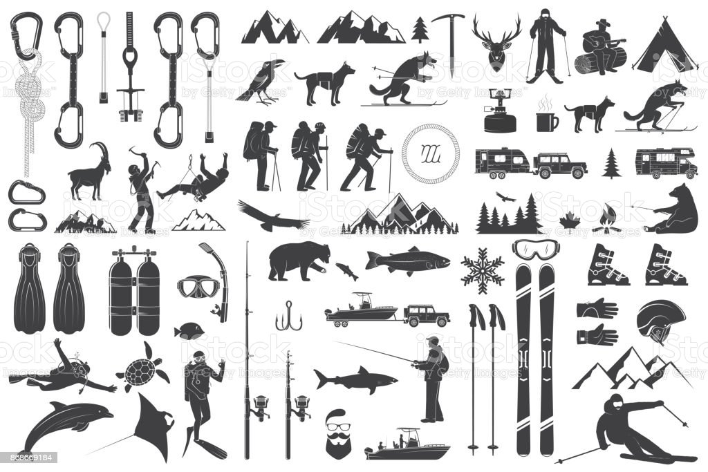 Mountaineering, hiking, climbing, fishing, skiing and other adventure icons vector art illustration
