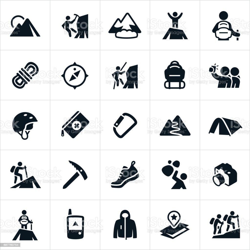 Icônes de l'alpinisme - Illustration vectorielle