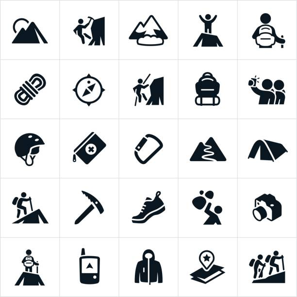 mountaineering icons - black and white mountain stock illustrations, clip art, cartoons, & icons