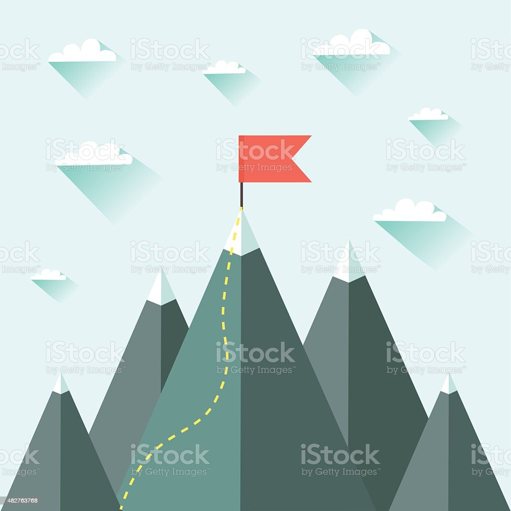 Mountaineering Route. Goal Achievement or Success Concept vector art illustration