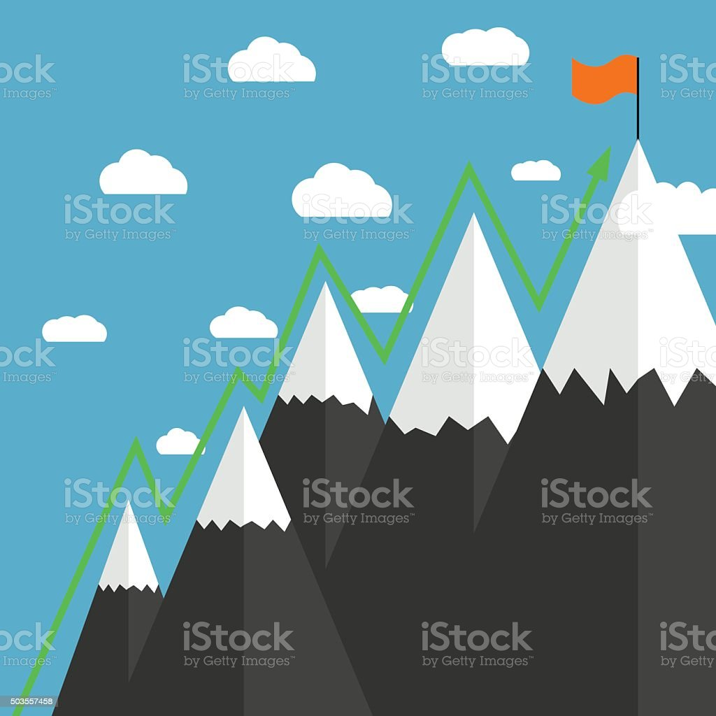 Mountaineering Route. Goal Achievement vector art illustration
