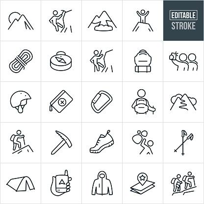 Mountaineering Thin Line Icons - Editable Stroke