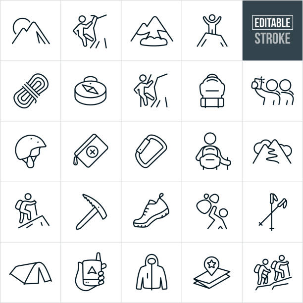 Mountaineering Thin Line Icons - Editable Stroke A set of mountaineering icons that include editable strokes or outlines using the EPS vector file. The icons include a mountain, ice climber, mountain climber, avalanche, rope, compass, backpack, mountaineer, people taking selfie, climbing helmet, safety gear, first aid kit, Carabiner, hiking, hiker, shoes, coat, dangers, trekking poles, tent, backpacker, backpacking, map and other related icons. climbing stock illustrations
