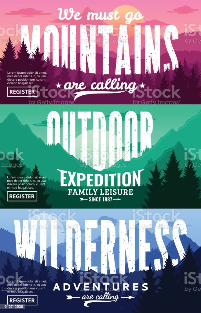 Mountains Adventures Horizontal Banner Set
