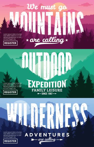 Mountains Adventures Horizontal Banner Set Mountain and outdoor adventures horizontal banner set. Mountains landscapes with trees, mountains, clouds and sky in various times of day vector illustration wilderness stock illustrations