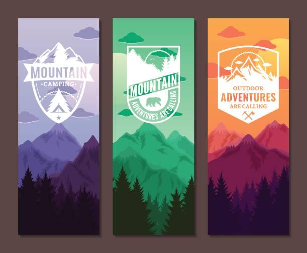 ilustrações, clipart, desenhos animados e ícones de montanhas de aventuras banner vertical conjunto - atividades ao ar livre