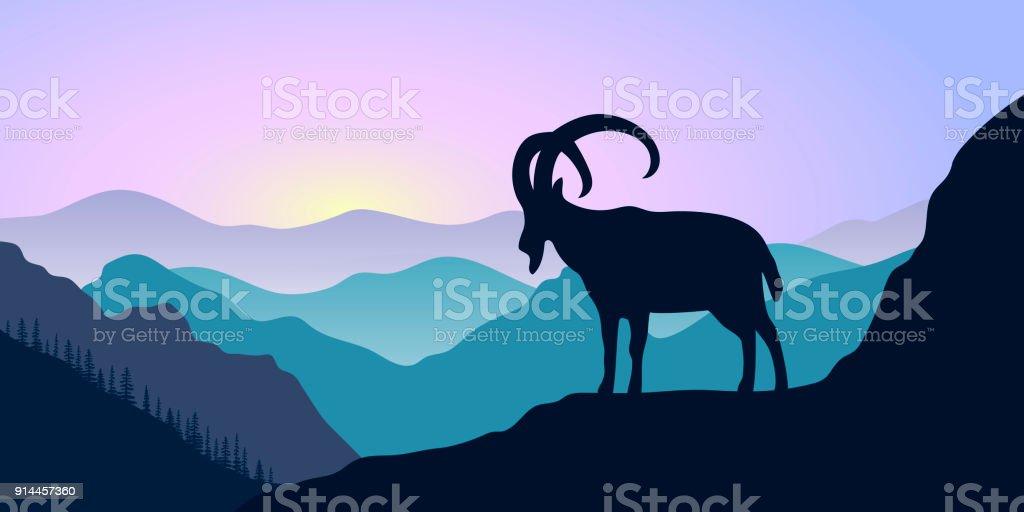 Montagnes, bouquetin et forêt au lever du soleil. paysage avec silhouettes - Illustration vectorielle