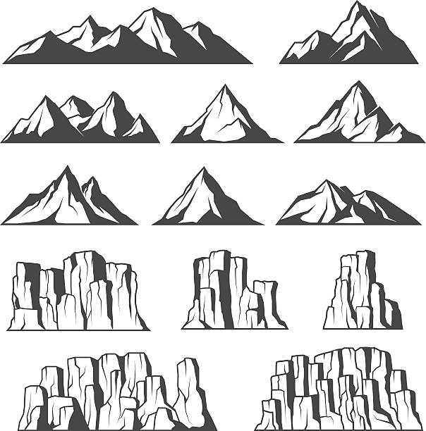 Mountains and cliffs icons Set of vector icons of montains and cliffs cliff stock illustrations
