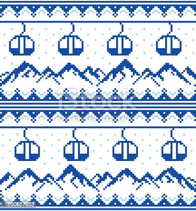 istock Mountains and gondolas ski, snowboard, hiking and climbing vector seamless pattern -  Fair Isle style traditional knitwear 1250657052