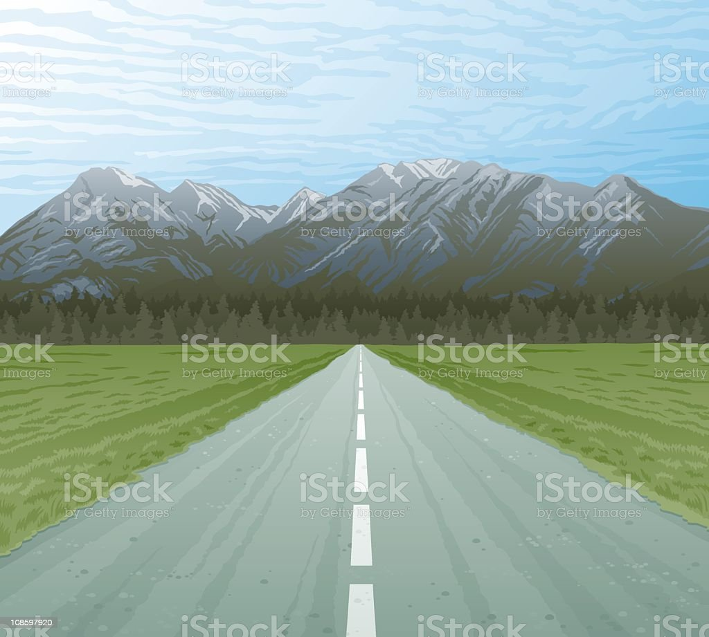 Mountains and Highway vector art illustration
