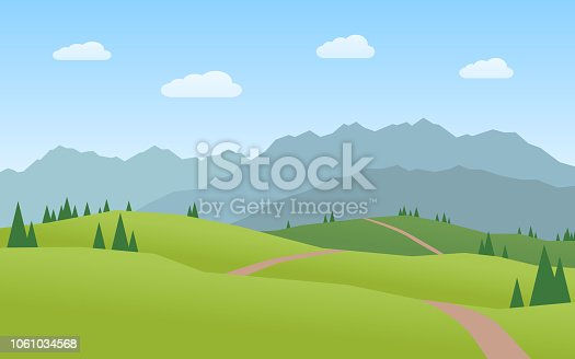 A mountain group and hills - Flat design Landscape
