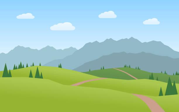 illustrazioni stock, clip art, cartoni animati e icone di tendenza di mountains and hills landscape flat design - sfondo paesaggi