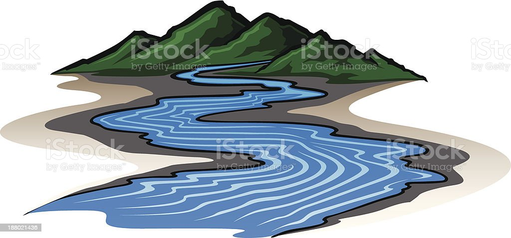 Mountains and River vector art illustration