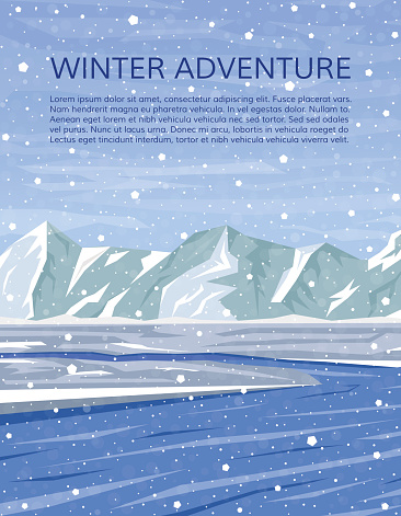 Mountains and river winter landscape. Mountaineering and travelling cover. Climbing, hiking, trekking or outdoor vacation banner. Vector illustration.