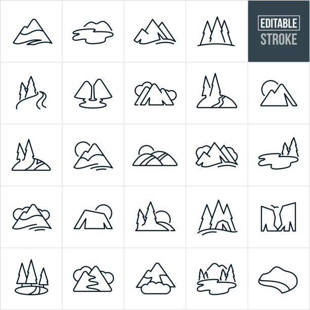 Mountains and Trees Thin Line Icons - Editable Stroke A set of mountains, trees and waterways icons that include editable strokes or outlines using the EPS vector file. The icons include mountains, landforms, trees, waterways, river, lakes, cliffs, hiking trails, coastline, pine trees, hills and other landforms found in nature. valley stock illustrations