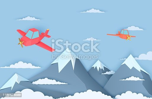 Mountains and two airplains in paper cut style. Landscape with clouds of three snow capped mountains and a flying red plain. Vector origami polygonal illustration