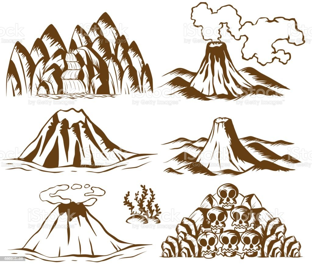 Mountains and volcano on white background vector art illustration