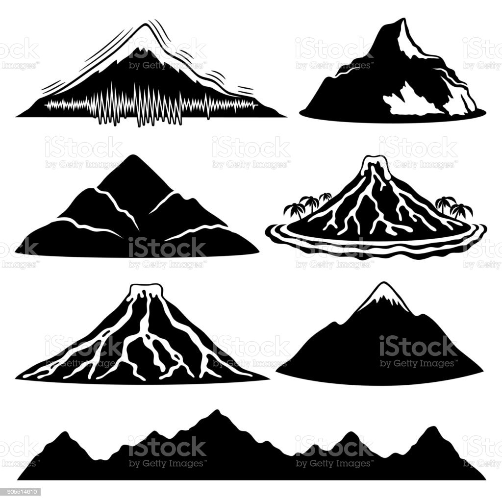 Mountains and volcanoes. vector art illustration