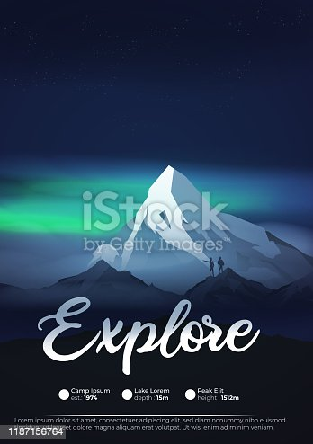 Mountains at night with aurora, northern lights exploration adventure flyer