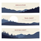 Set of outdoor horizontal banners. Vector templates for web and print.
