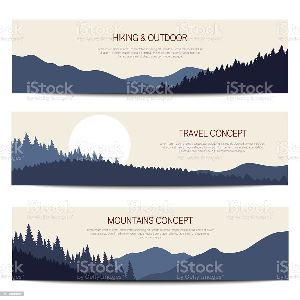 Mountains backgrounds with place for text vector art illustration