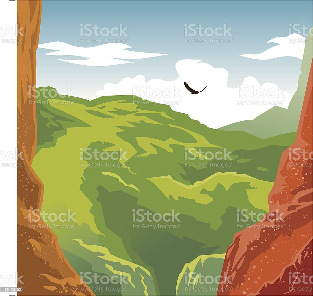 Mountains & Bird royalty-free stock vector art