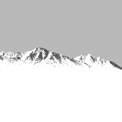 Mountains covered with snow winter landscape on grey background
