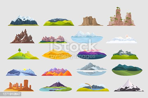 Mountains doodle set. Collection of colorful cartoon style drawings of different stone rocks peakes hilltops. Natural terrain travelling tourism destinations for hiking or mountaineering illustration.