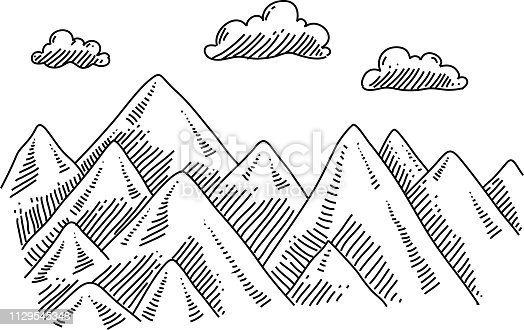 Line drawing of Mountains. Elements are grouped.contains eps10 and high resolution jpeg.