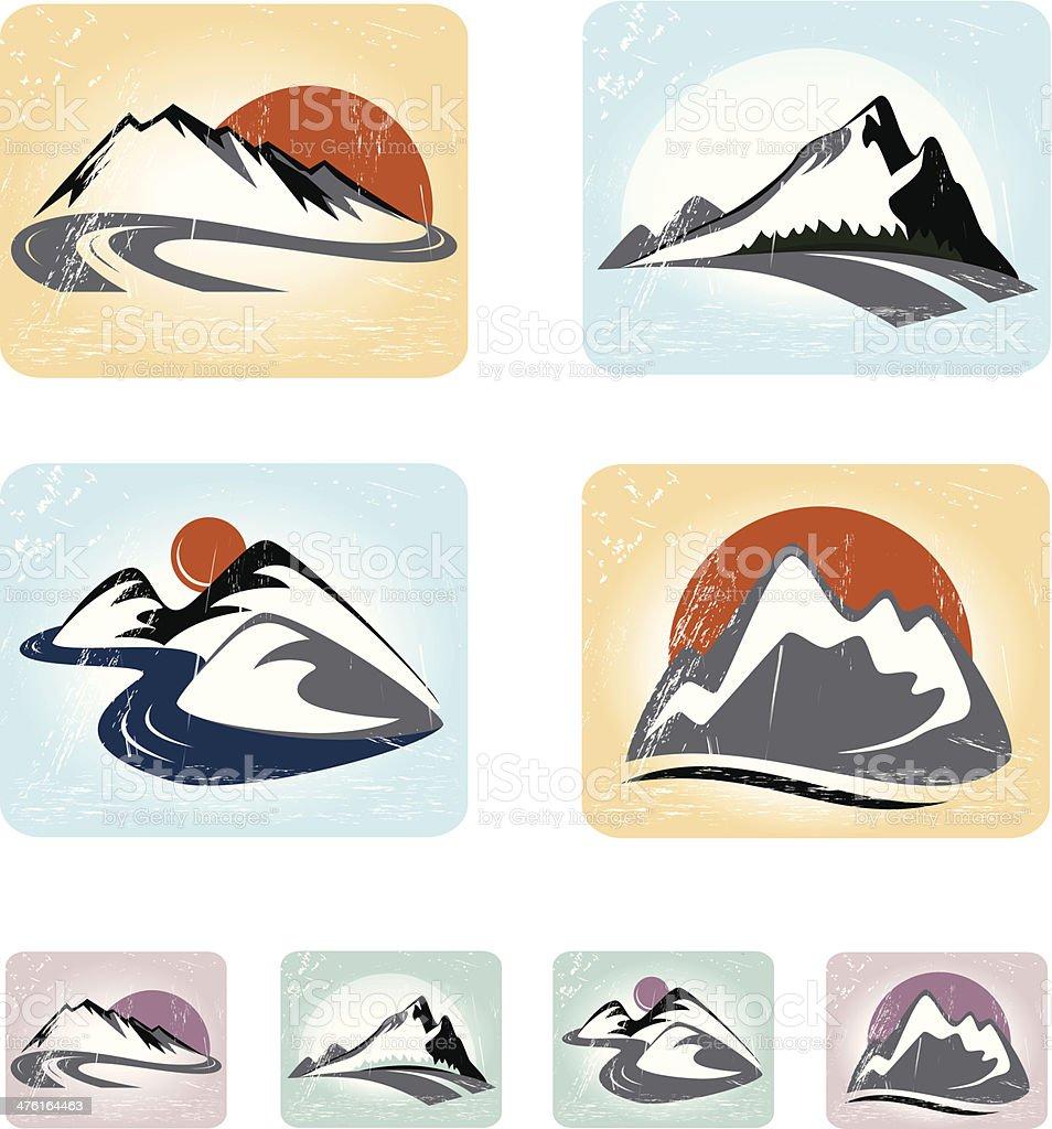Mountains emblem set royalty-free stock vector art