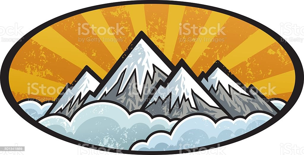 Mountains emblem royalty-free mountains emblem stock vector art & more images of black color