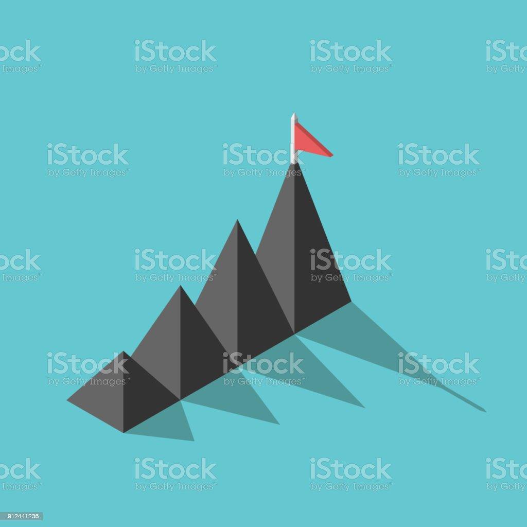 Berge, Flagge, Ziel-Konzept – Vektorgrafik
