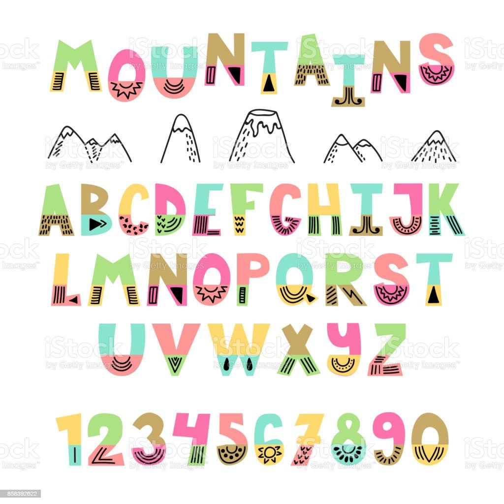 山のフォントです手には英語のアルファベットが描かれました