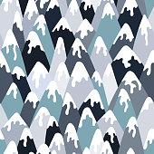 A seamless pattern of hand drawn, snow covered mountains. EPS10 vector illustration, easy to edit.