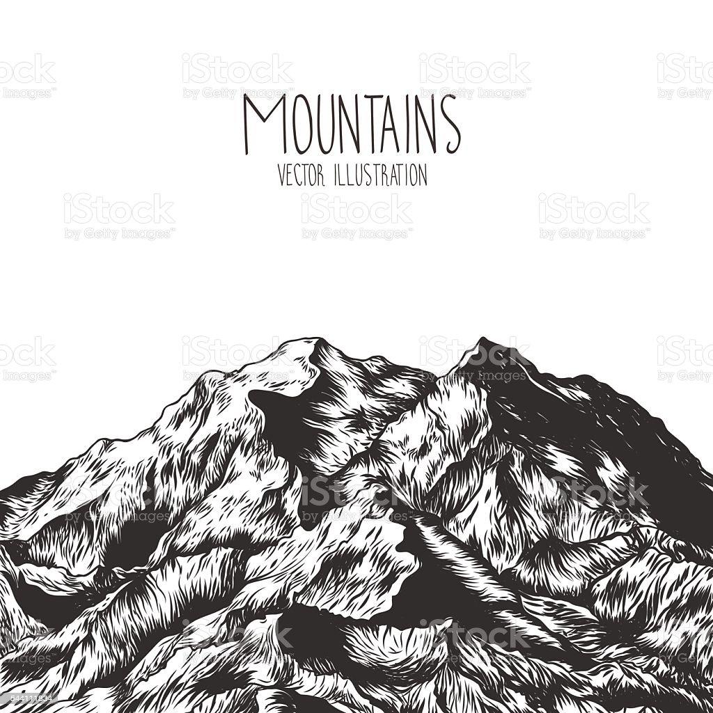Mountains. Hand drawn vector illustration vector art illustration