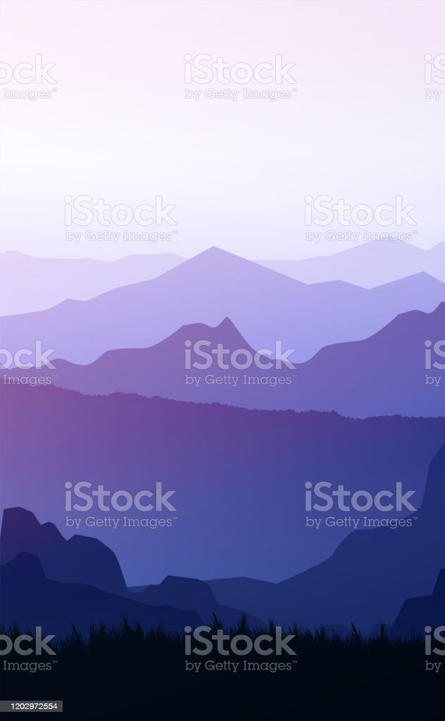 Mountains Horizon Hills Natural Silhouettes In The Evening Sunrise