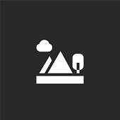 mountains icon. Filled mountains icon for website design and mobile, app development. mountains icon from filled landscapes collection isolated on black background.
