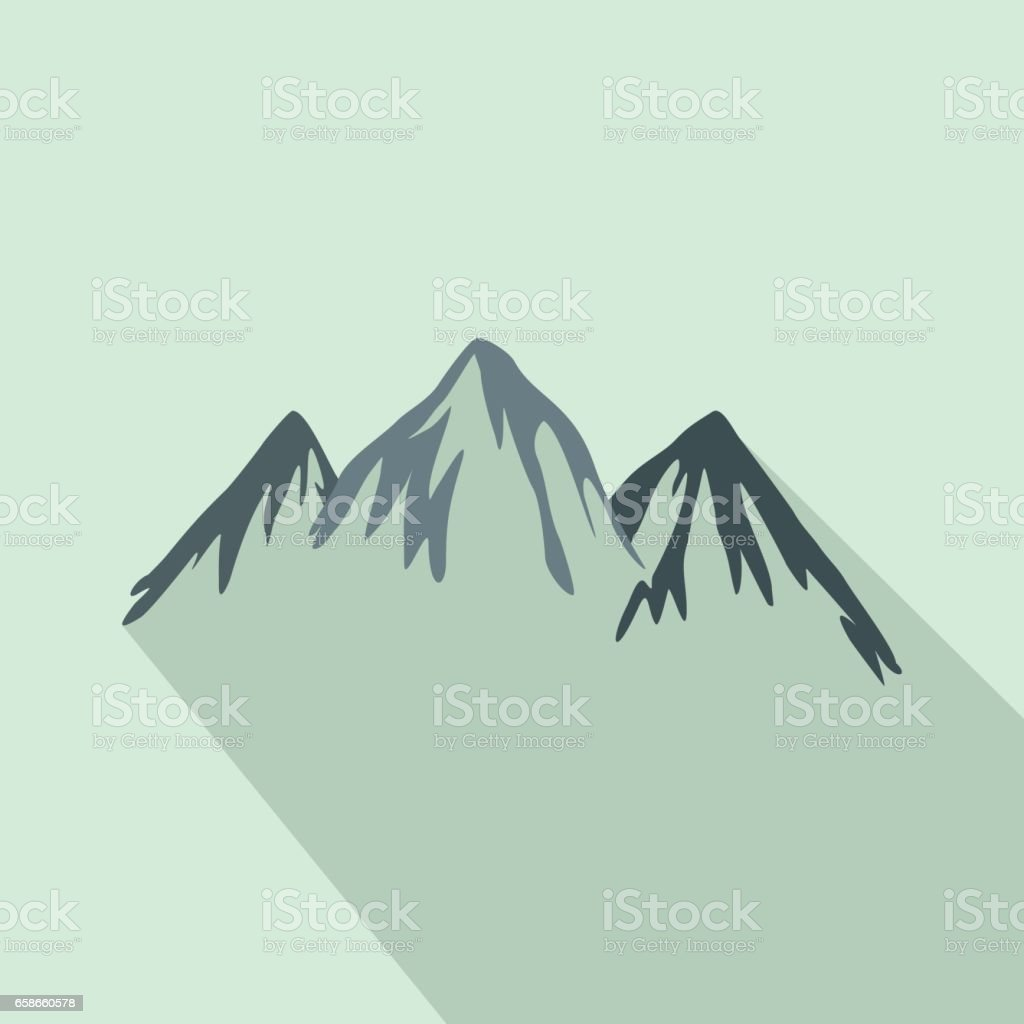 Mountains icon in flat style vector art illustration