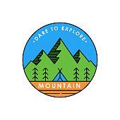 Mountains icon logo vector illustration. Vintage Mountain emblem design vector template design. Mountains Line Art logo vector illustration for Outdoor Adventure.
