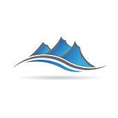 Mountains in a revolving wave Vector Logo