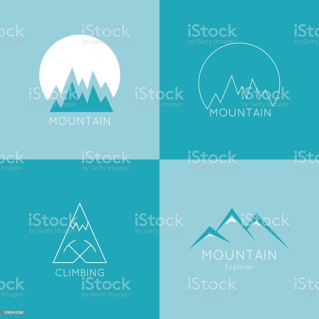 Mountains in box. vector art illustration